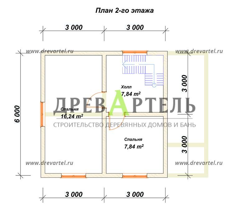 План 2-го этажа - Двухэтажный дом из бруса 6х8