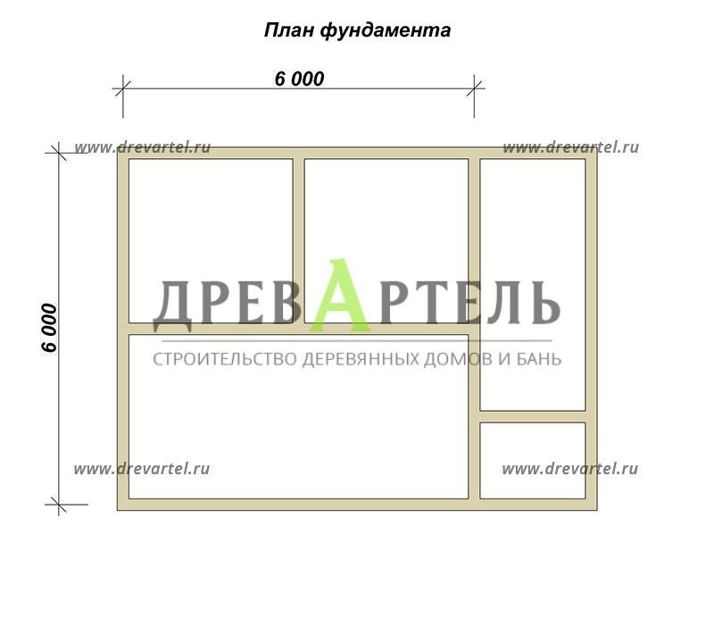 План ленточного фундамента - Двухэтажный дом из бруса 6х8