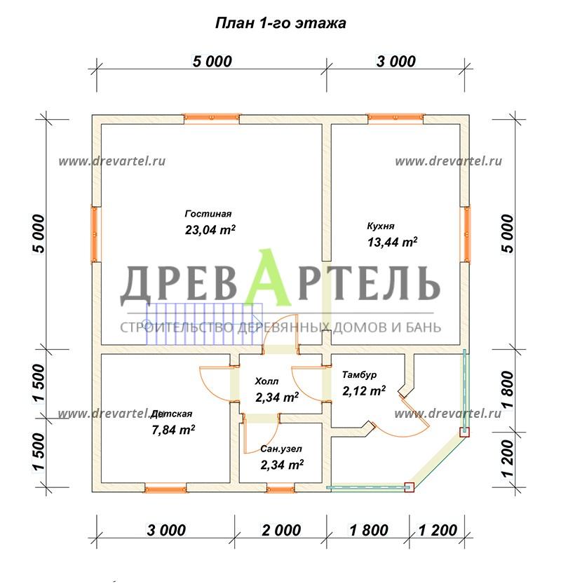 План 1-го этажа - Сруб дома 8х8 из бревна в полтора этажа
