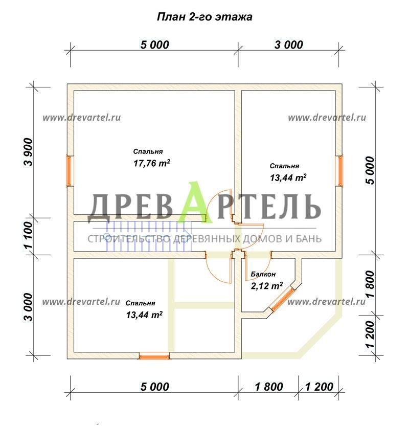 План 2-го этажа - Сруб дома 8х8 из бревна в полтора этажа