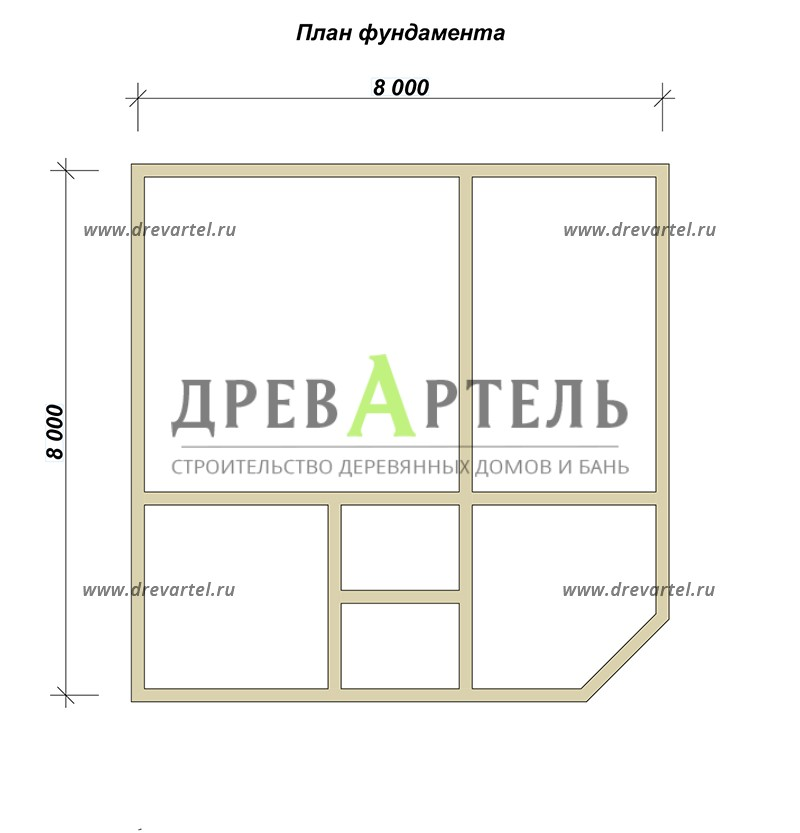 План ленточного фундамента - Сруб дома 8х8 из бревна в полтора этажа