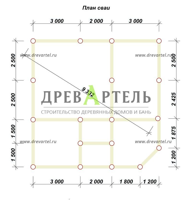 План свайного фундамента - Сруб дома 8х8 из бревна в полтора этажа