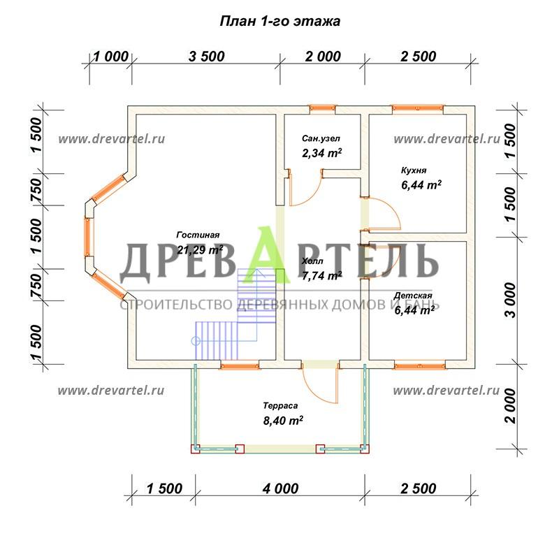 План 1-го этажа - Дом из бруса 6х8 с ломаной крышей
