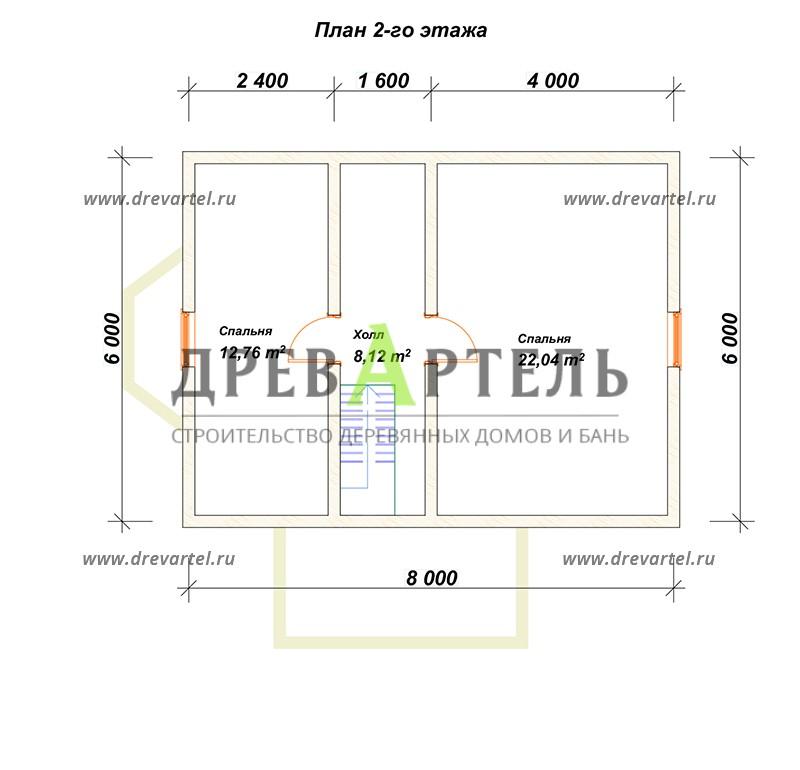 План 2-го этажа - Дом из бруса 6х8 с ломаной крышей