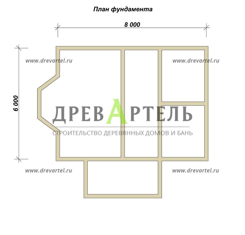 План ленточного фундамента - Дом из бруса 6х8 с ломаной крышей