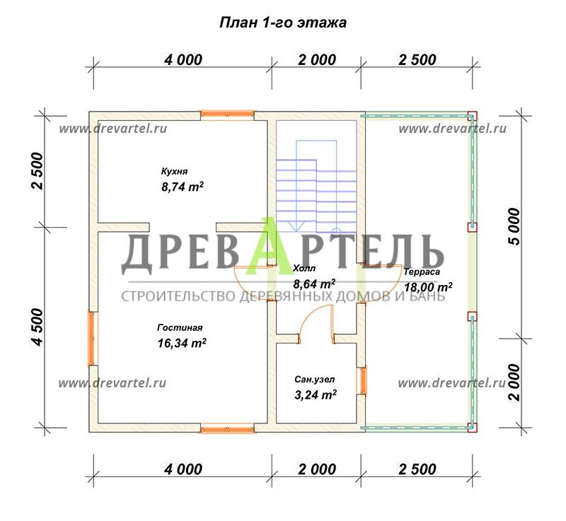 План 1-го этажа - Дом из бруса 7х8 с мансардой и террасой