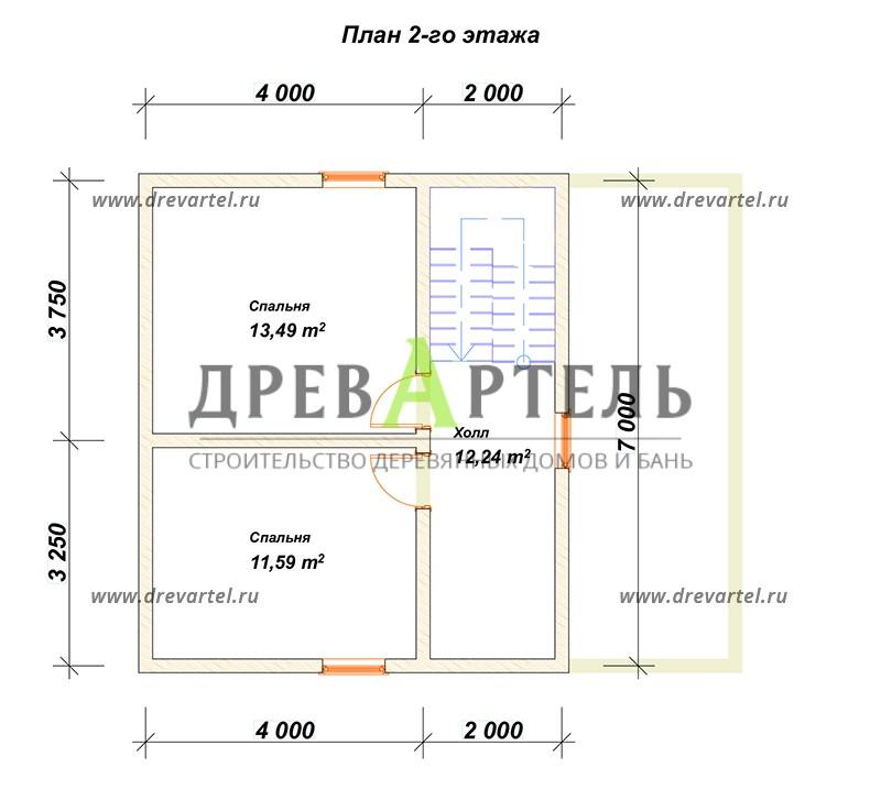 План 2-го этажа - Дом из бруса 7х8 с мансардой и террасой
