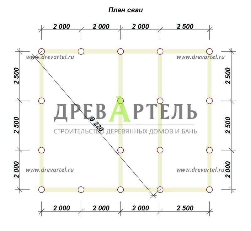 План свайного фундамента - Дом из бруса 7х8 с мансардой и террасой
