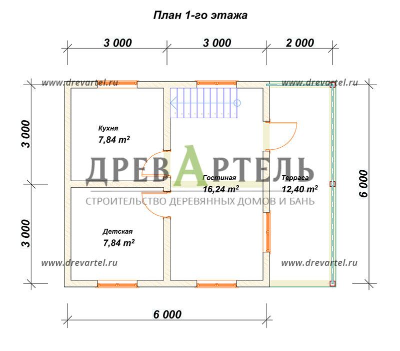 План 1-го этажа - Проект дома 6х6 с террасой