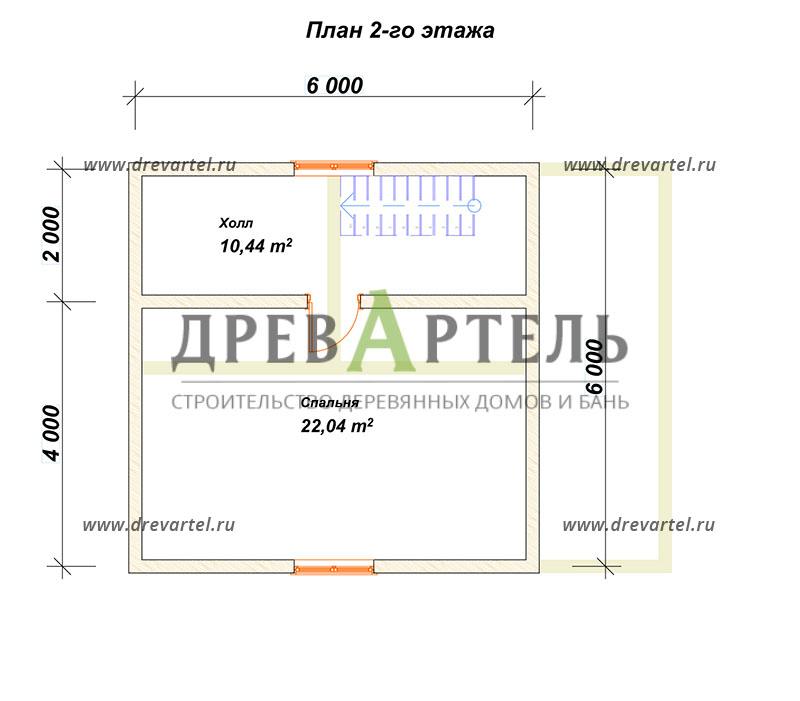 План 2-го этажа - Проект дома 6х6 с террасой