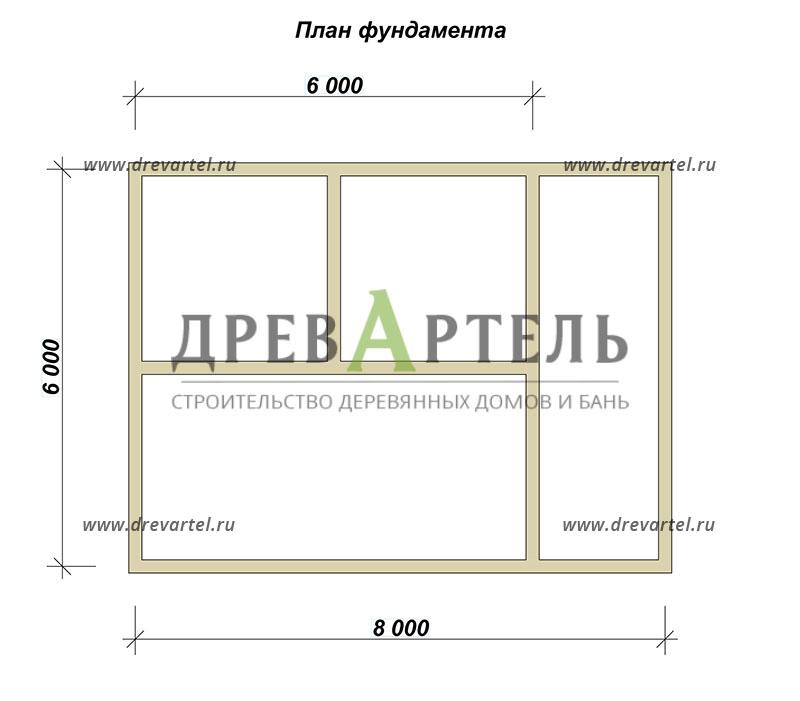 План ленточного фундамента - Проект дома 6х6 с террасой