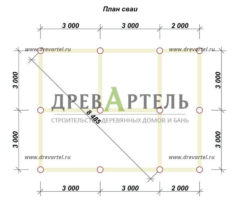 План свайного фундамента - Проект дома 6х6 с террасой