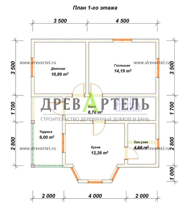 План 1-го этажа - Дом из бревна 8х8 с мансардой