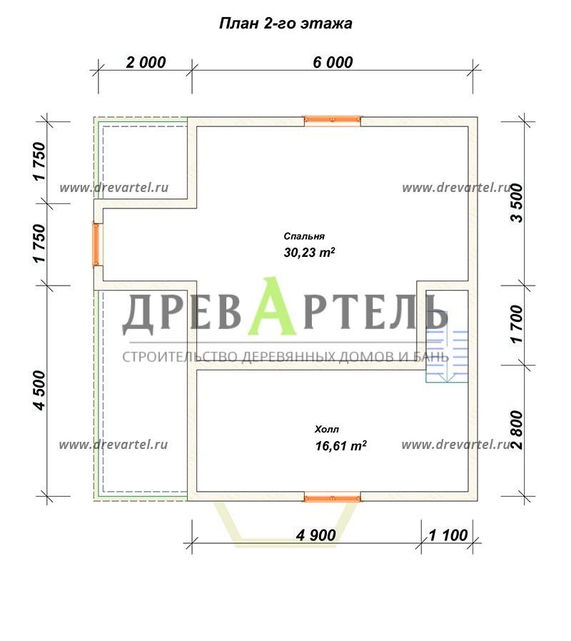 План 2-го этажа - Дом из бревна 8х8 с мансардой