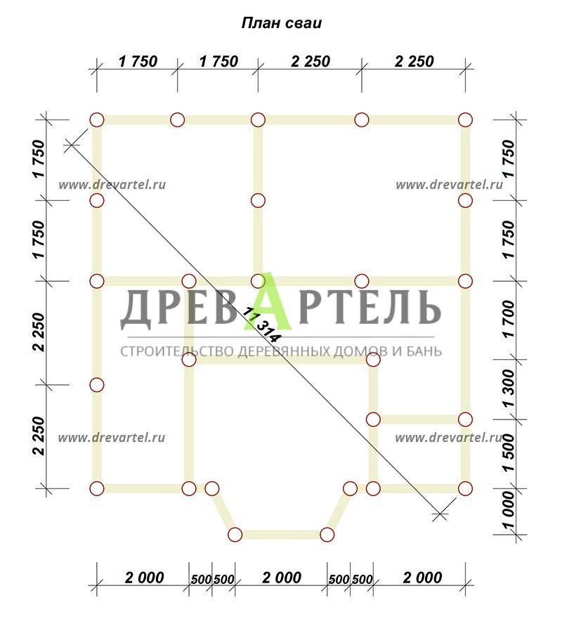 План свайного фундамента - Дом из бревна 8х8 с мансардой