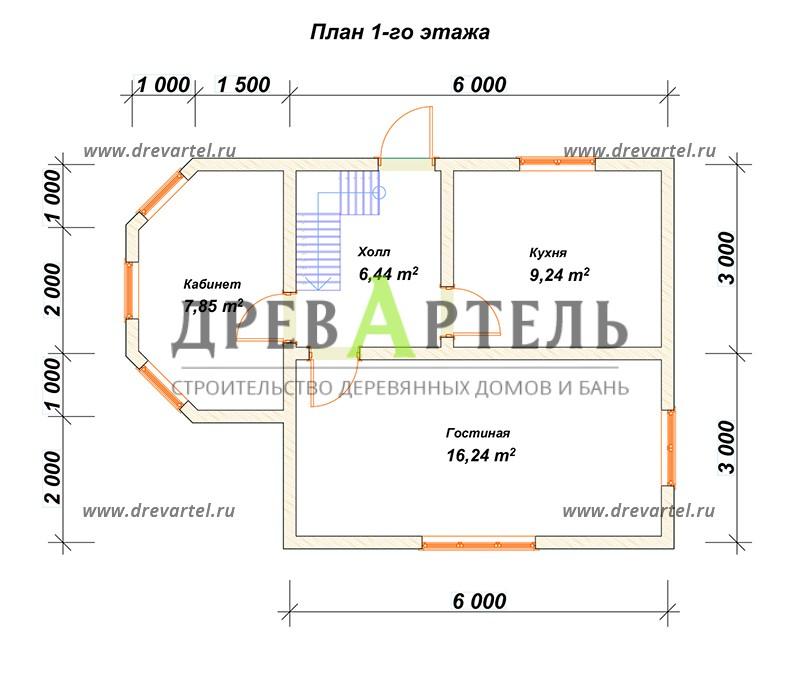 План 1-го этажа - Дом из бруса 6х8 с эркером