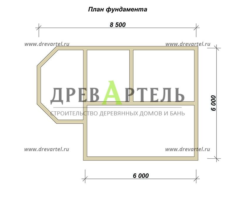 План ленточного фундамента - Дом из бруса 6х8 с эркером
