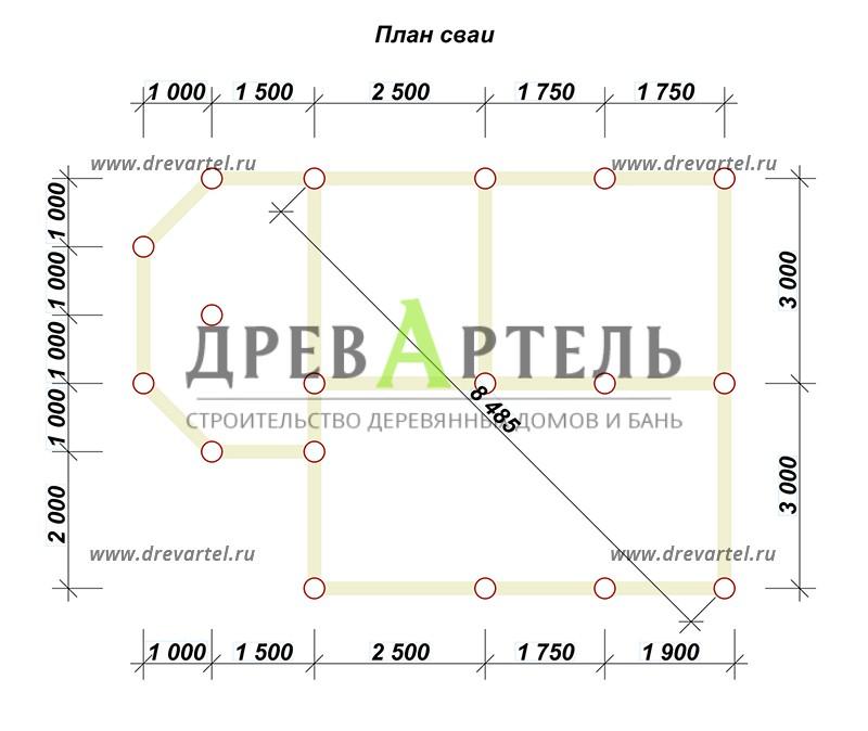 План свайного фундамента - Дом из бруса 6х8 с эркером