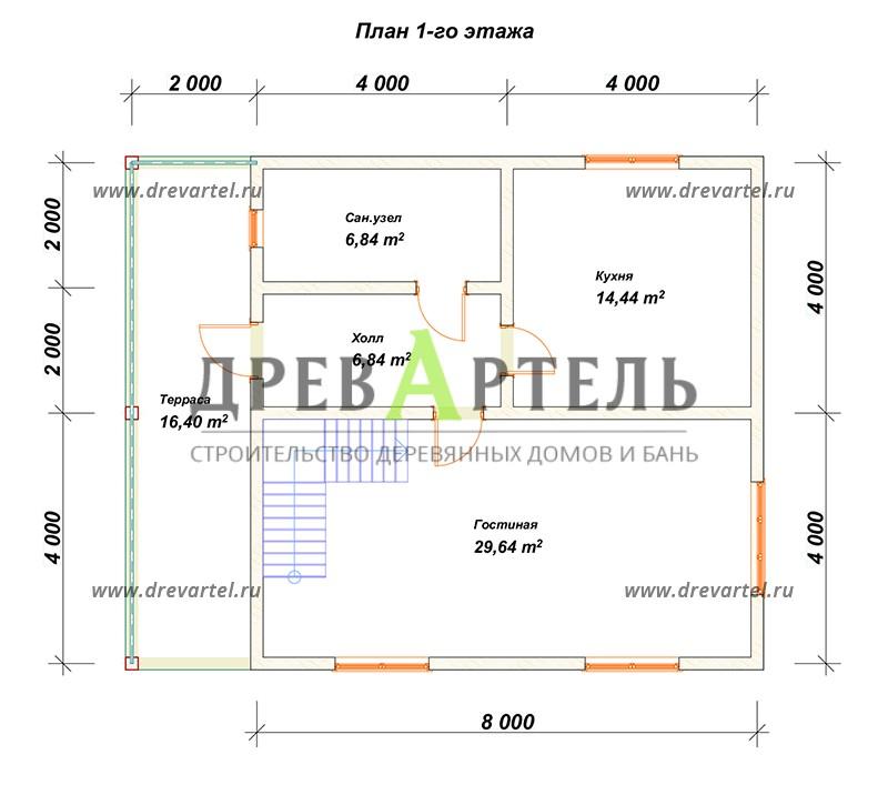 План 1-го этажа - Дом из бруса 8х10 с террасой