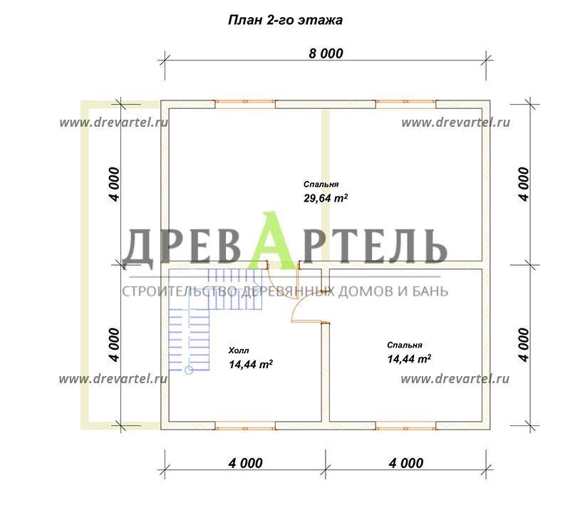 План 2-го этажа - Дом из бруса 8х10 с террасой