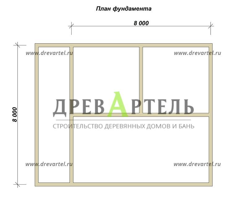 План ленточного фундамента - Дом из бруса 8х10 с террасой