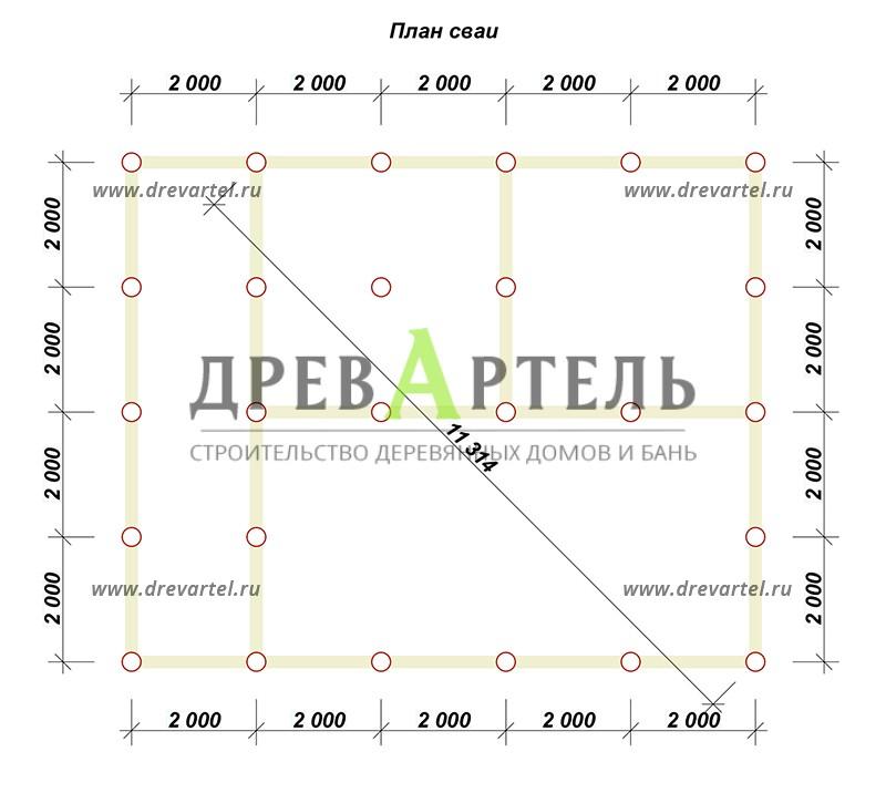 План свайного фундамента - Дом из бруса 8х10 с террасой