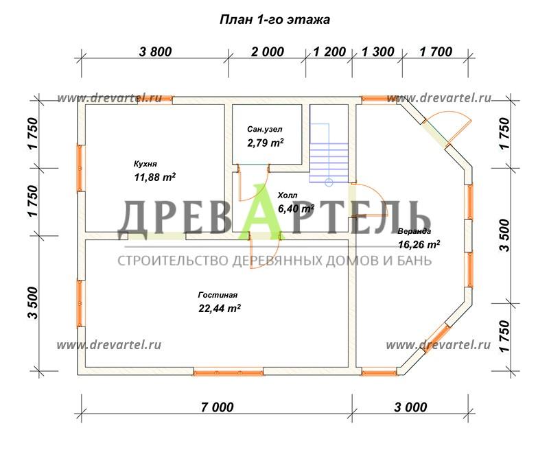 План 1-го этажа - Дом из бруса 7х10 с верандой