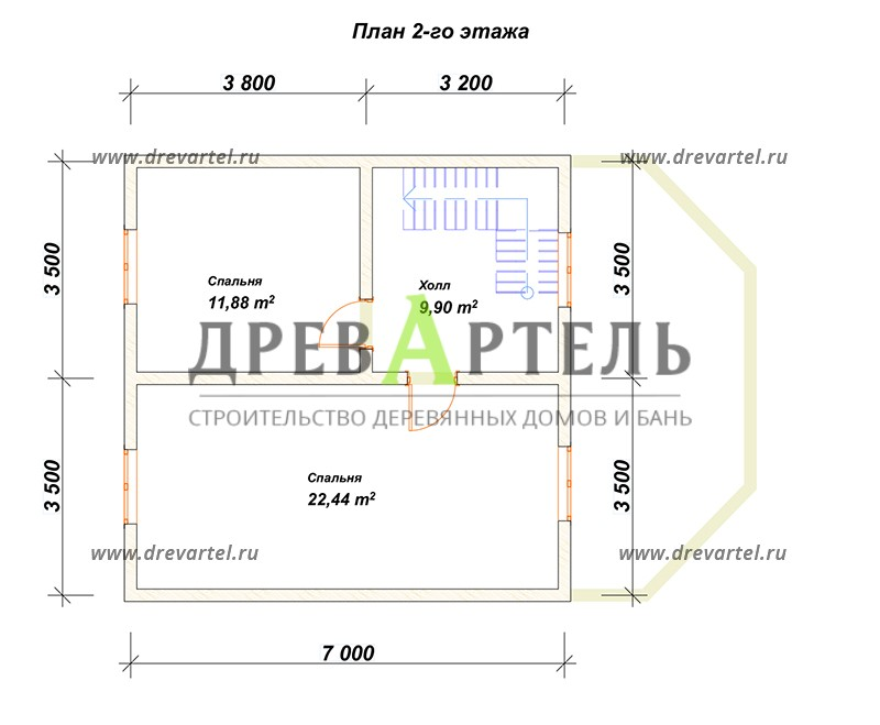 План 2-го этажа - Дом из бруса 7х10 с верандой