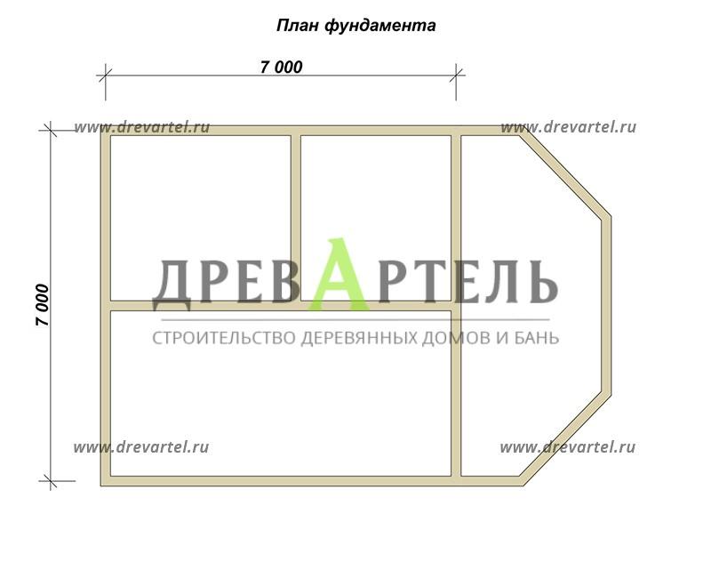 План ленточного фундамента - Дом из бруса 7х10 с верандой