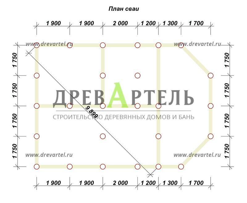 План свайного фундамента - Дом из бруса 7х10 с верандой