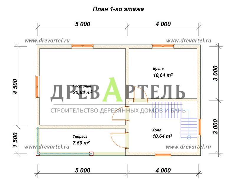 План 1-го этажа - Дом из бруса 6х9 в два этажа