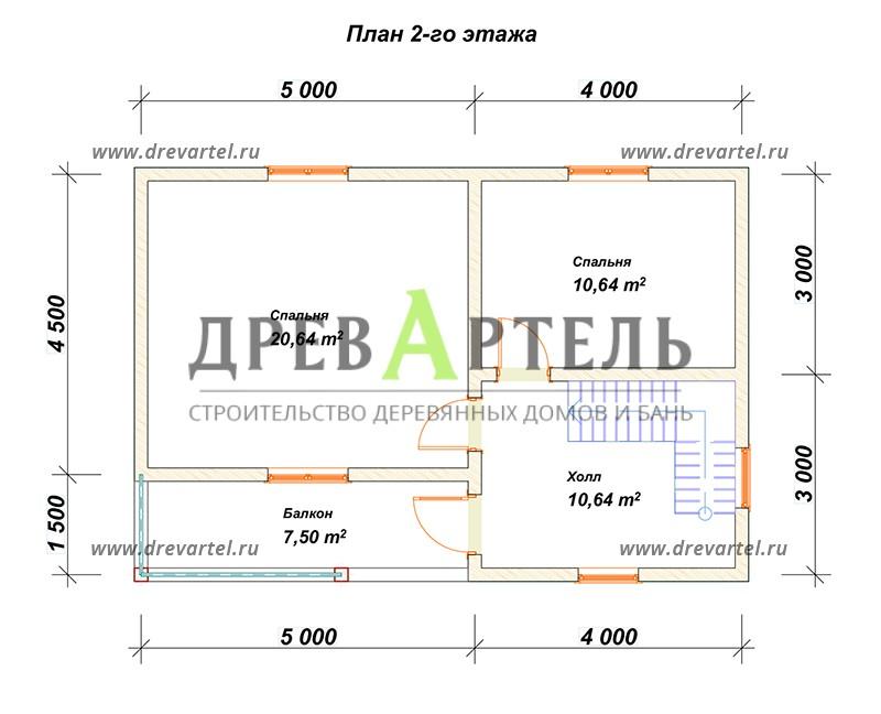 План 2-го этажа - Дом из бруса 6х9 в два этажа