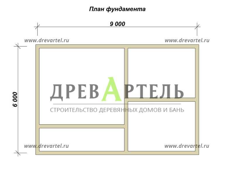 План ленточного фундамента - Дом из бруса 6х9 в два этажа