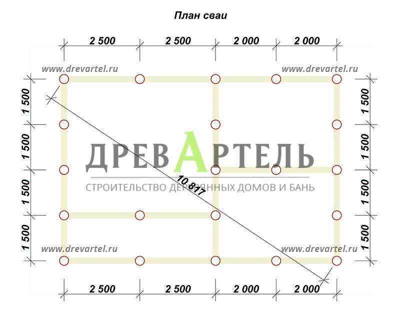 План свайного фундамента - Дом из бруса 6х9 в два этажа