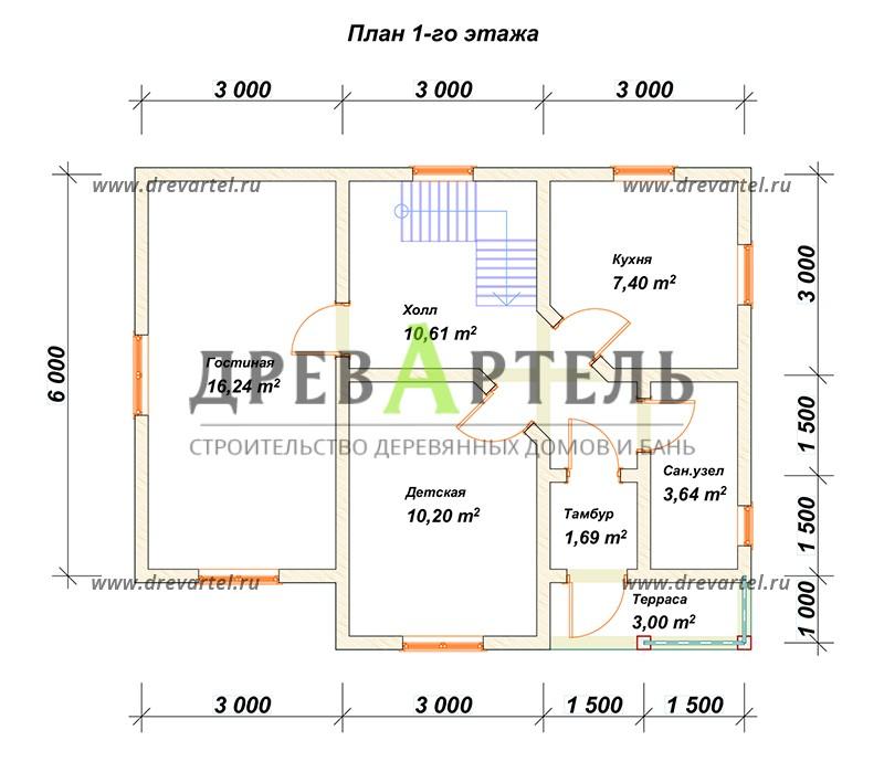 План 1-го этажа - Дом из бруса 7х9 для постоянного проживания