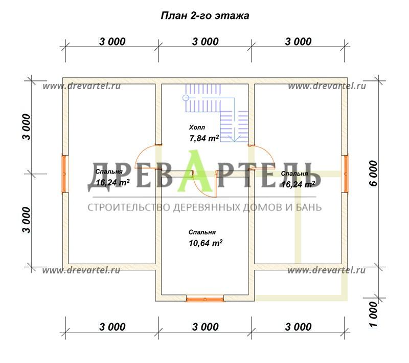 План 2-го этажа - Дом из бруса 7х9 для постоянного проживания