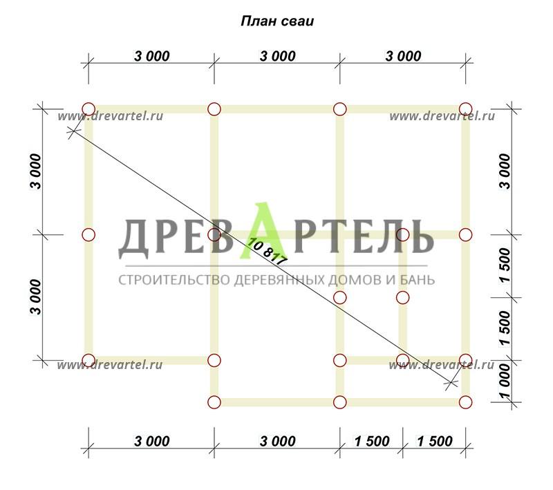 План свайного фундамента - Дом из бруса 7х9 для постоянного проживания
