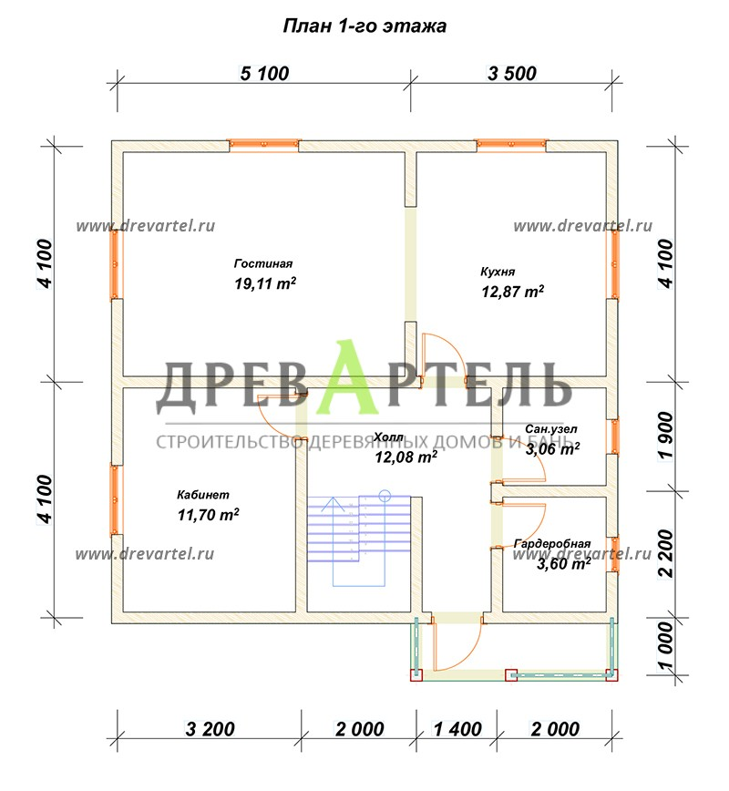 План 1-го этажа - Одноэтажный дом из бруса 8х8 с мансардой