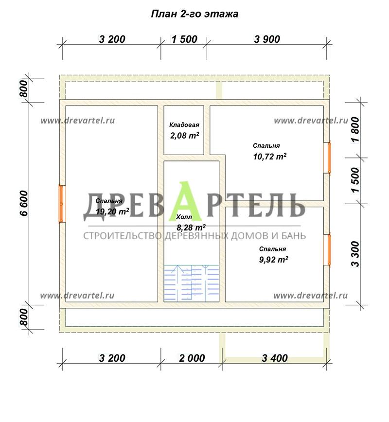 План 2-го этажа - Одноэтажный дом из бруса 8х8 с мансардой