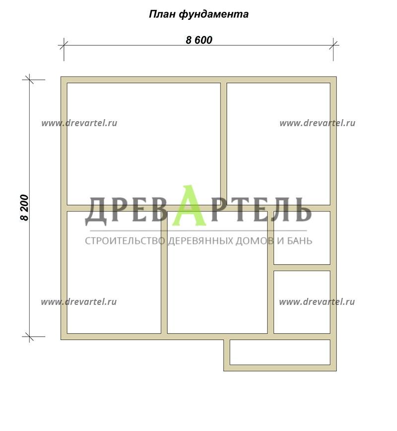 План ленточного фундамента - Одноэтажный дом из бруса 8х8 с мансардой