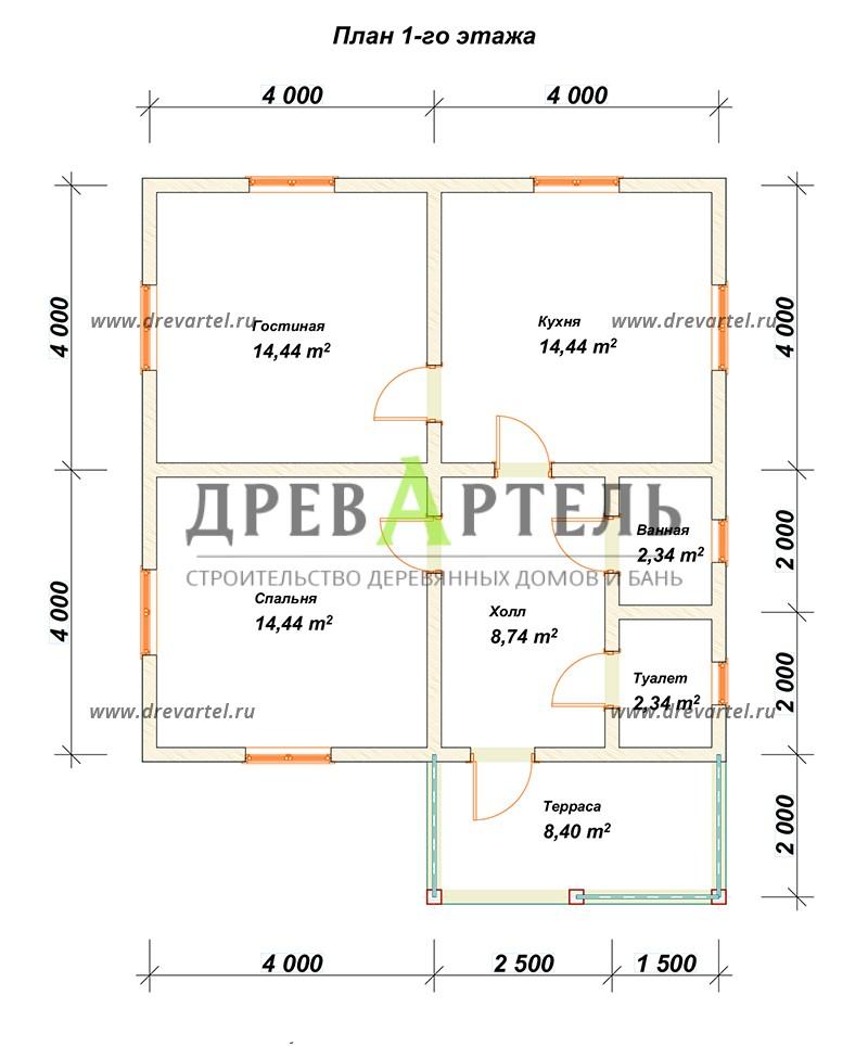 План 1-го этажа - Одноэтажный загородный дом из бруса 8х8
