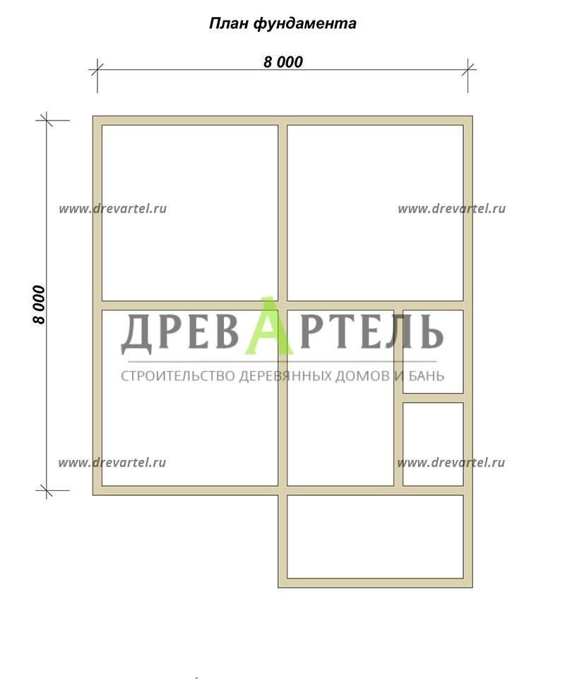 План ленточного фундамента - Одноэтажный загородный дом из бруса 8х8