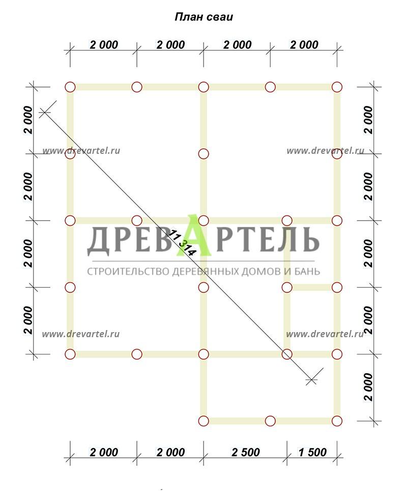 План свайного фундамента - Одноэтажный загородный дом из бруса 8х8