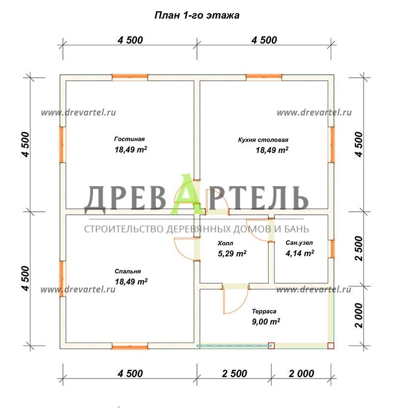 План 1-го этажа - Одноэтажный дом из бруса 8х9
