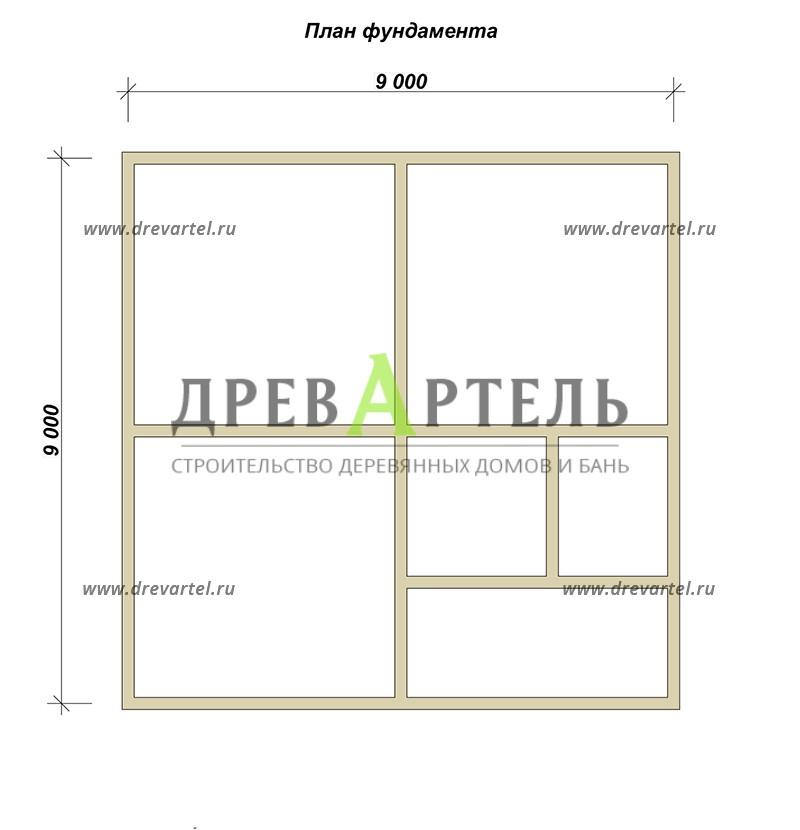 План ленточного фундамента - Одноэтажный дом из бруса 8х9