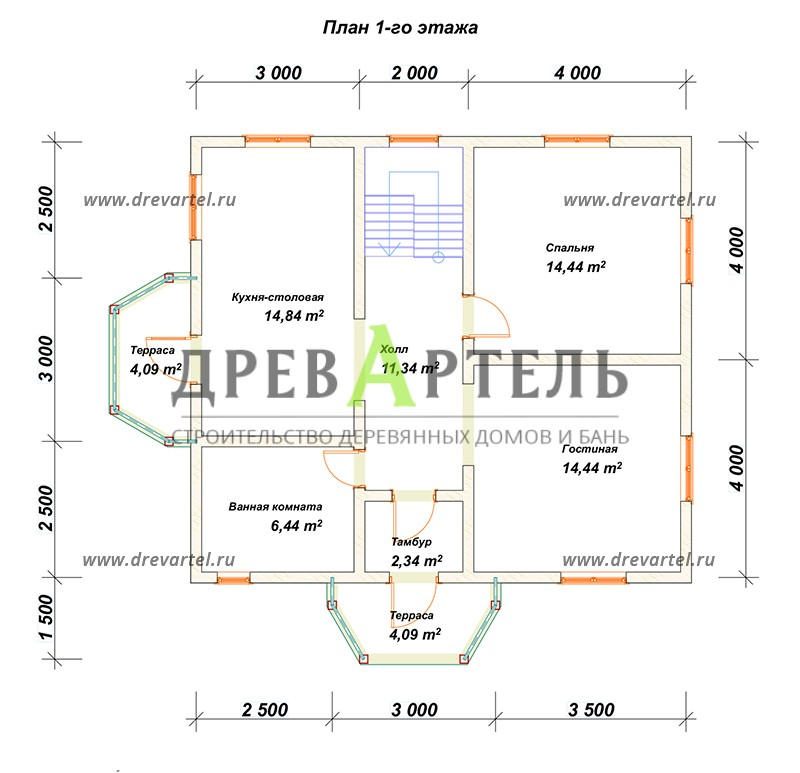 План 1-го этажа - Двухэтажный дом из бруса 8х11