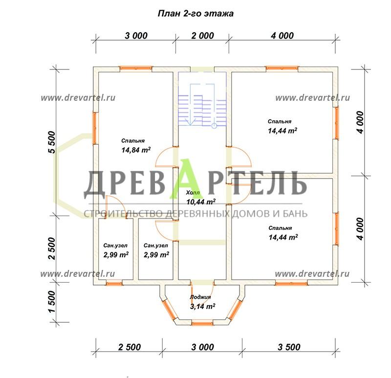 План 2-го этажа - Двухэтажный дом из бруса 8х11