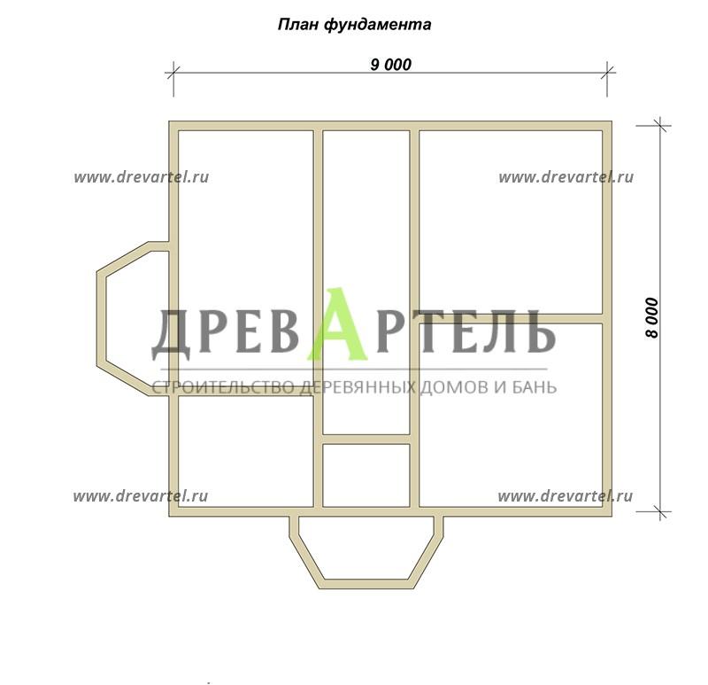 План ленточного фундамента - Двухэтажный дом из бруса 8х11