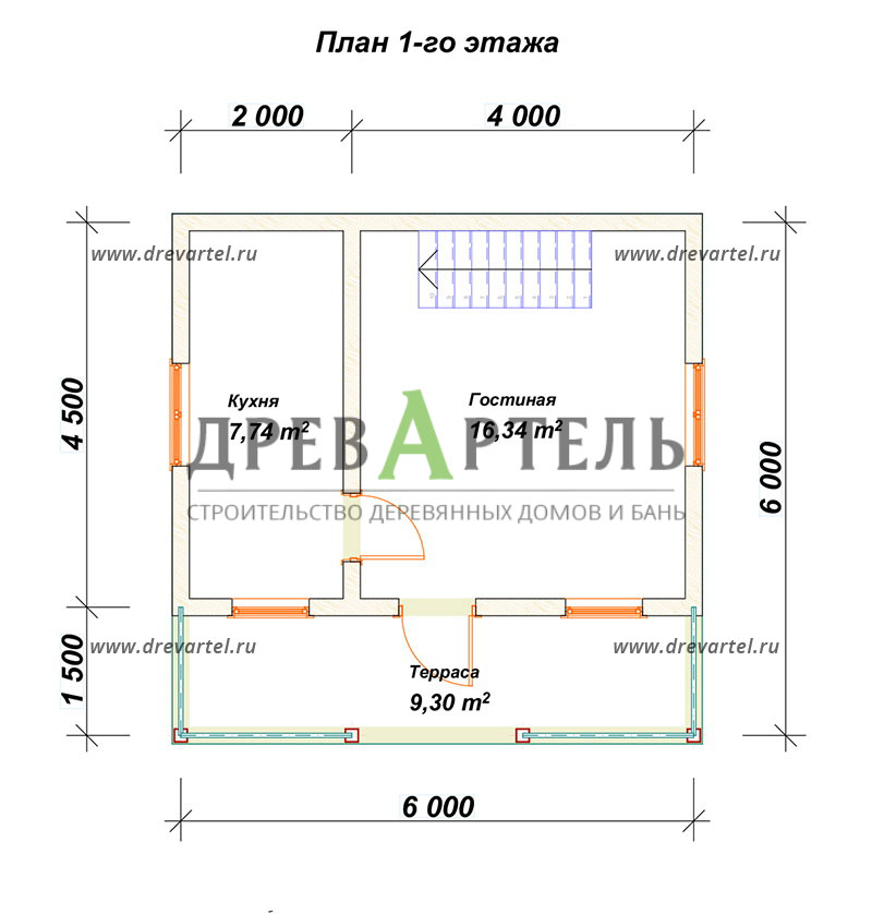 План 1-го этажа - Проект дома из бруса 6х6 с террасой