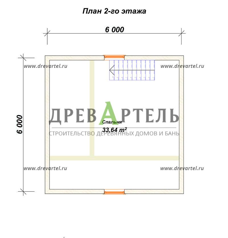 План 2-го этажа - Проект дома из бруса 6х6 с террасой